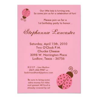 5x7 Pink Spring Lady Bug Birthday Party Invitation