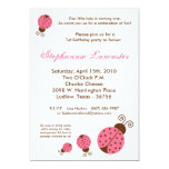 5x7 Pink Spring Lady Bug Birthday Party Invitation