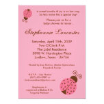 5x7 Pink Spring Lady Bugs Baby Shower Invitation