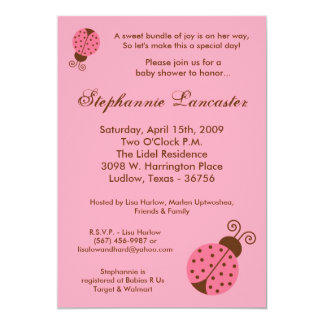 """5x7 Pink Spring Lady Bugs Baby Shower Invitation 5"""" X 7"""" Invitation Card"""
