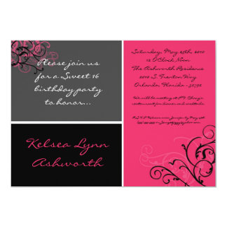 5x7 Pink Square Sweet 16 Birthday Party Invitation