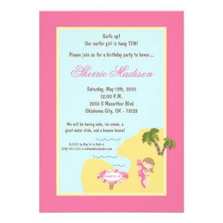 5x7 Pink Surfer Girl Birthday Party Invitation