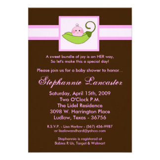 5x7 Pink Sweet Pea in Pod Baby Shower Invitation