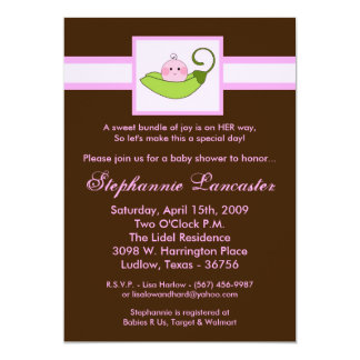 "5x7 Pink Sweet Pea in Pod Baby Shower Invitation 5"" X 7"" Invitation Card"