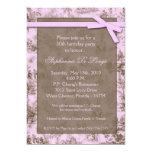 "5x7 Pink Toile Fabric Birthday Party Invitation 5"" X 7"" Invitation Card"