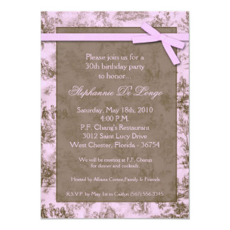 5x7 Pink Toile Fabric Birthday Party Invitation