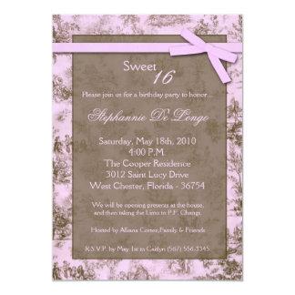 5x7 Pink ToileFabric Sweet 16 Birthday Invitation
