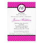 5x7 Pink White Polka Dot 16th Birthday Invitation