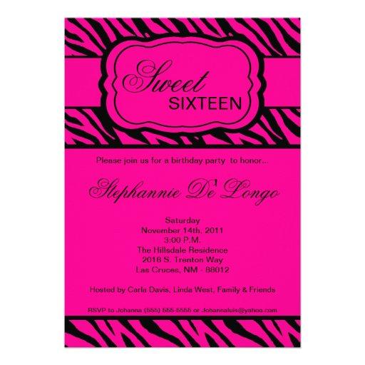 5x7 Pink Zebra Print Birthday Party Invitation  Zazzle