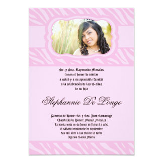 5x7 Pink Zebra Print Patter Quinceanera Invitation