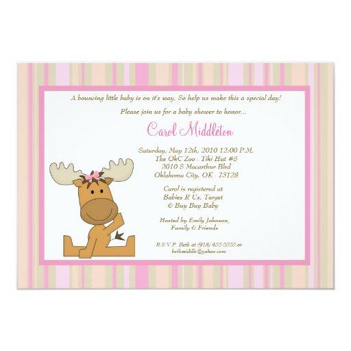 5x7 PinkGirl Woodland Moose Baby Shower Invitation