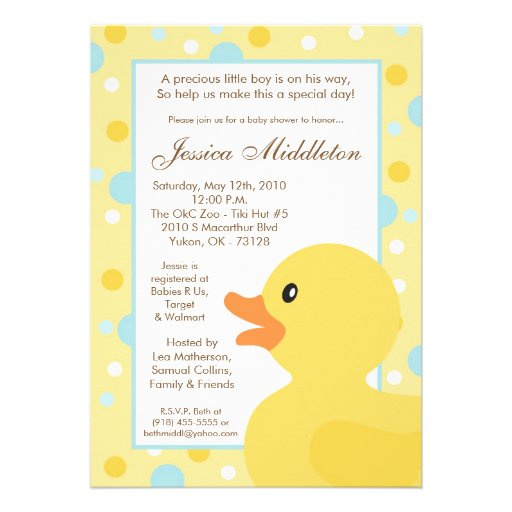 yellow and blue polka dot rubber ducky baby shower invitations