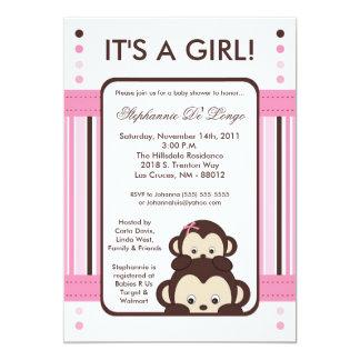 5x7 Pop Monkey Pink Jungle Baby Shower Invitation