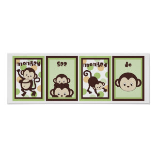 5x7 Pop Monkey Zoo Animal Baby Bedding Wall Art