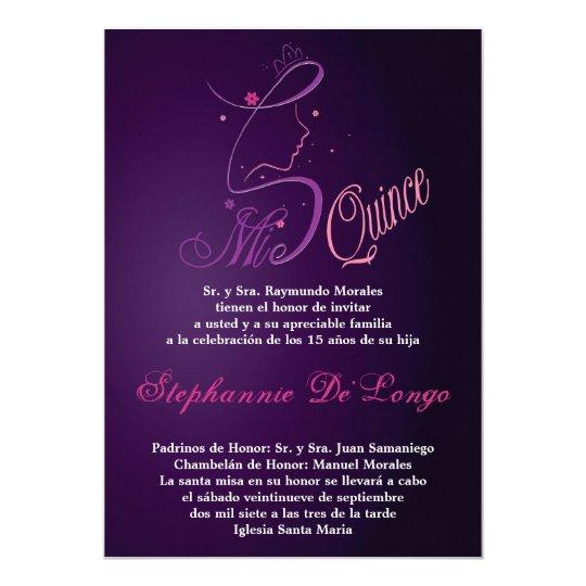 5x7 Princess Girl Quinceanera Birthday Invitation