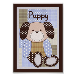 "5x7 ""Puppy"" Graham Crackers Baby Bedding Wall Art"