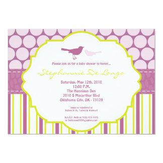 5x7 Purple Bird Polka Dot Baby Shower Invitation