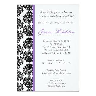 5x7 Purple Damask Lace Baby Shower Invitation