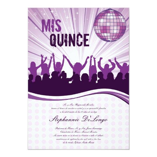 5x7 Purple Dance Party Quinceanera Invitation