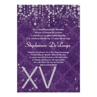 5x7 Purple Diamond Quinceanera Birthday Invitation