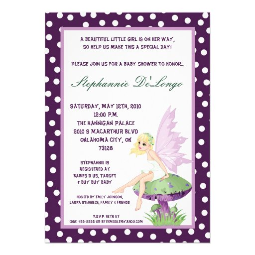 5x7 purple fairy baby shower invitation 5 x 7 invitation card