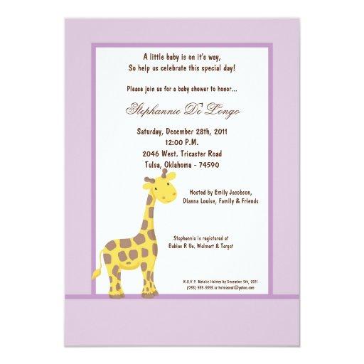 5x7 Purple Giraffe Baby Shower Invitation