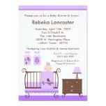 5x7 Purple Girl Nursey Baby Shower Invitation