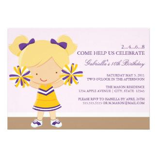 5x7 Purple Gold Cheerleader Birthday Party Invite