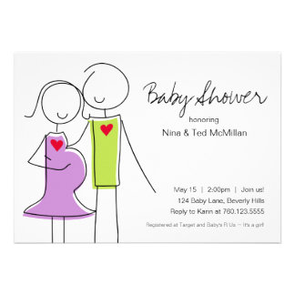 5x7 Purple & Green Coed Baby Shower Invitations