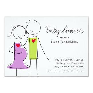 5x7 Purple & Green Coed Baby Shower Invitations