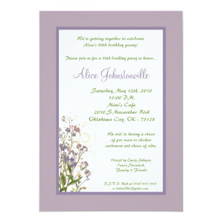 5x7 Purple Iris Flower Birthday Party Invitation