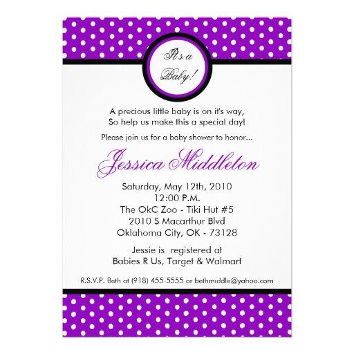 5x7 purple polka dot baby shower invitation 5 x 7 invitation card