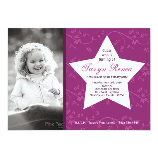 5x7 Purple STAR Photo Birthday Party Invitation
