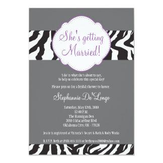 5x7 Purple Zebra Stripe Brida Shower Invitation