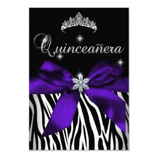 5x7 Quinceanera Purple Zebra Black White Card