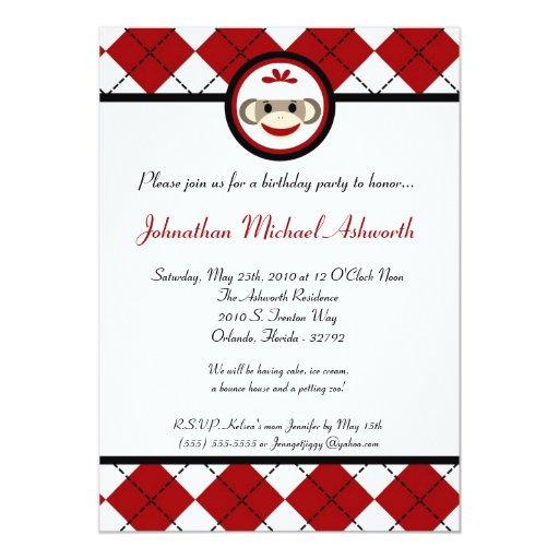 5x7 Red Arg Sock Monkey Toy Birthday Invitation