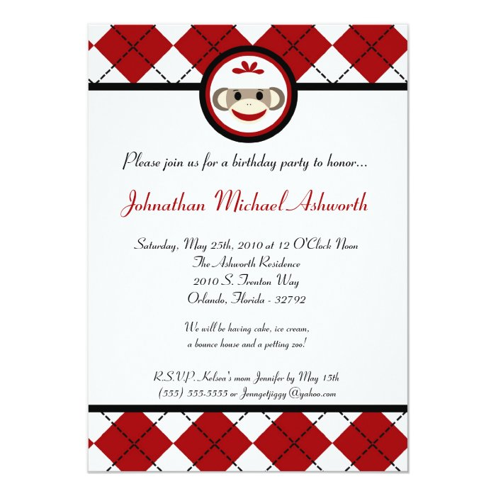 5x7 Red Arg Sock Monkey Toy Birthday Invitation