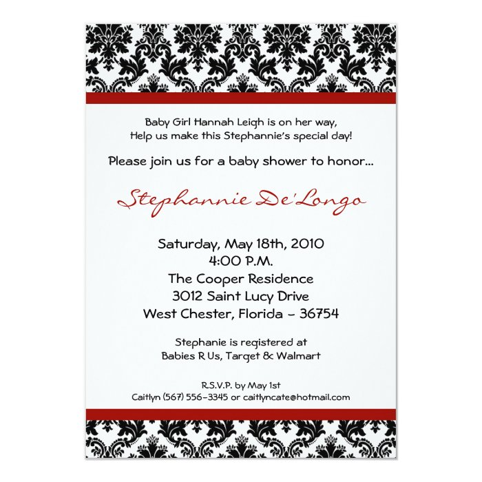 5x7 red crimso black damask baby shower invitation zazzle