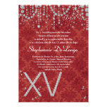 5x7 Red Diamond Quinceanera Birthday Invitation