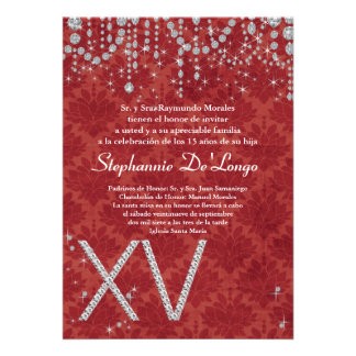 5x7 Red Diamond Quinceanera Birthday Invitation