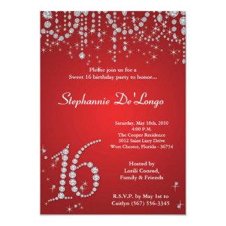 5x7 Red Diamond Sweet 16 Birthday Invitation