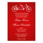 5x7 Red Double Bike Old Linen Wedding Invitation Personalized Invitations