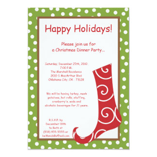 Red And Green Christmas Stocking Invitations  Announcements Zazzle