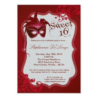 5x7 Red Masquerade Mask 16 Birthday Invitation
