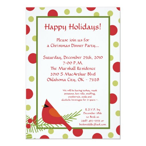 5x7 Red Robin Holly Christmas Party Invitation