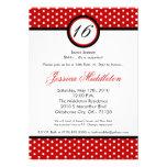 5x7 Red White Polka Dot 16th Birthday Invitation
