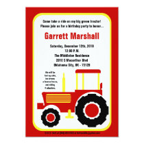 5x7 Red Yellow Farm Tractor Birthday Invitation