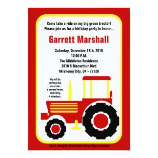 5x7 Red Yellow Farm Tractor Birthday Invitation