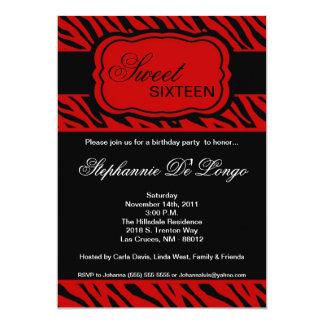 5x7 Red Zebra Print Birthday Party Invitation