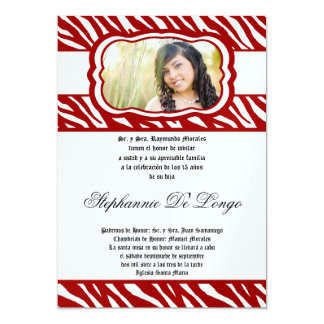 5x7 Red Zebra Print Patter Quinceanera Invitation
